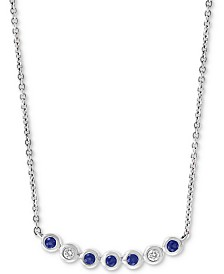 "EFFY® Sapphire (1/8 ct. t.w.) and Diamond (1/3 ct. t.w.) 18"" Necklace in 14k White Gold"