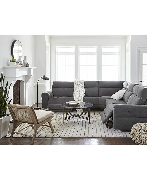 Furniture Raymere Fabric Leather Power Reclining Sectional Sofa