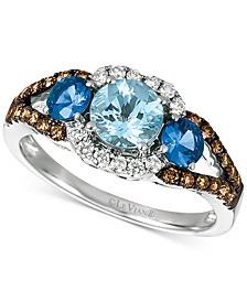Sea Blue Aquamarine (5/8 ct. t.w.), Blueberry Sapphire (1/2 ct. t.w.) and Diamond (1/3 ct. t.w.) Ring in 14k White Gold