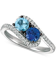 Sea Blue Aquamarine (3/8 ct. t.w.), Blueberry Tanzanite (1/3 ct. t.w.) and Vanilla Diamond (1/4 ct. t.w.) Two-Stone Ring in 14k White Gold