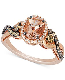 Peach Morganite (7/8 ct. t.w.), Chocolate Diamond (3/8 ct. t.w) and Vanilla Diamond (1/10 ct. t.w.) Ring in 14k Rose Gold