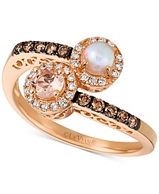 Peach Morganite (1/5 ct. t.w.), Neopolitan Opal (1/8 ct. t.w.), Vanilla Diamond (1/10 ct. t.w.) and Chocolate Diamond (1/6 ct. t.w.) Bypass Ring in 14k Rose Gold
