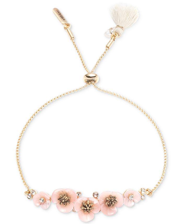 lonna & lilly - Gold-Tone Crystal & Imitation Mother-of-Pearl Flower Slider Bracelet