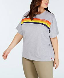 Trendy Plus Size Cotton Rainbow Logo T-Shirt