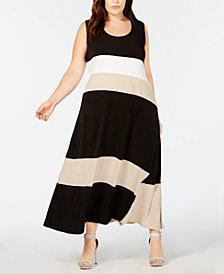 Calvin Klein Plus Size Colorblocked Maxi Dress