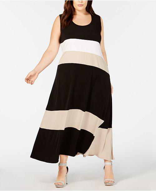 Calvin Klein Plus Size Colorblocked Maxi Dress & Reviews ...