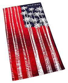 "Tommy Hilfiger Palm Flag Cotton 35"" x 66"" Beach Towel"
