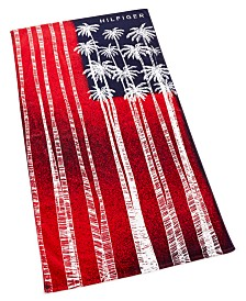 "Tommy Hilfiger Palm Flag Cotton 35"" x 66"" Beach Towel"