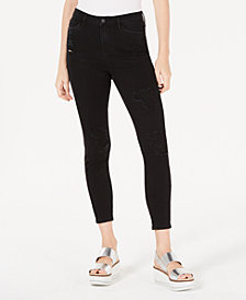 Vanilla Star Juniors' Ripped Black High-Rise Skinny Jeans