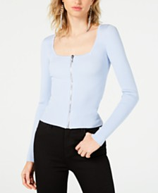GUESS Banica Zip-Up Ribbed Top