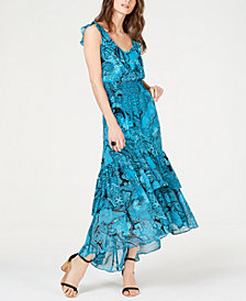 I.N.C. Smocked Ruffle High-Low Maxi Dress, Created for Macy's
