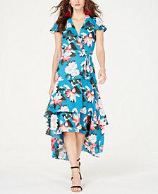 I.N.C. Printed Floral Short-Sleeve Midi Dress, Created for Macy's