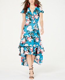 I.N.C. Printed Floral Short-Sleeve Midi Dress, Created for Macy's