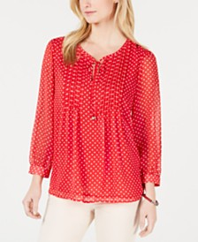 Tommy Hilfiger Long-Sleeve Bayview-Dot Pintuck Top, Created for Macy's