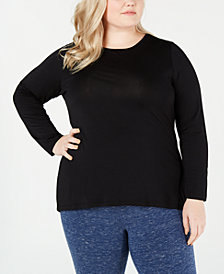 Ideology Plus Size Keyhole-Back Top, Created for Macy's