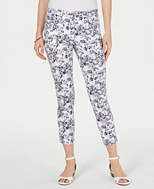 Charter Club Petite Garden-Print Cropped Jeans, Created for Macy's
