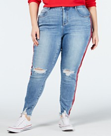 cad1eff762a YSJ Plus Size Ripped Side-Striped Skinny Jeans
