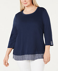 Karen Scott Plus Size Geometric Trim Top, Created for Macy's