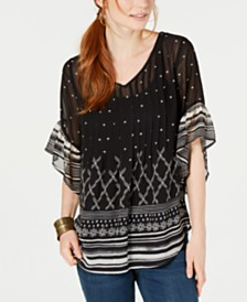 Style & Co Petite Pintucked Swing Top, Created for Macy's
