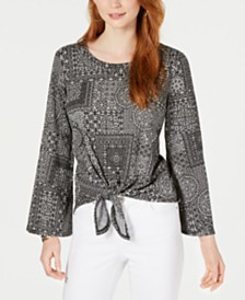 Style & Co Tie-Front Lantern-Sleeve Top, Created for Macy's