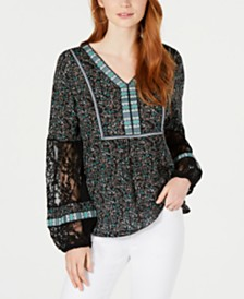 Style & Co Printed V-Neck Lace-Sleeve Top, Created for Macy's