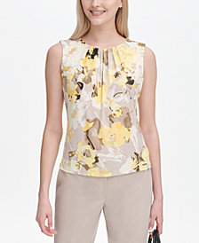 Calvin Klein Floral-Print Pleat-Neck Shell
