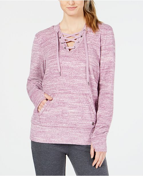 Ideology Space-Dyed Lace-Up Hoodie, Created for Macy's