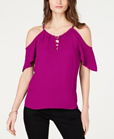 I.N.C. Petite Lace-Up Cold-Shoulder Top, Created for Macy's