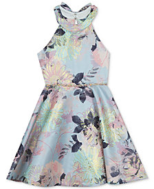 Rare Editions Big Girls Metallic Floral-Print Dress