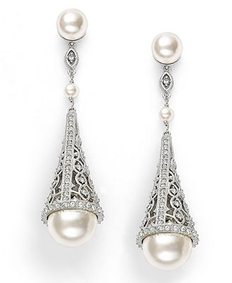 eliot danori earrings simulated pearl and pave