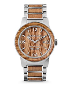 Mens Reclaimed Craft Beer Barrel Wood, The Brewmaster, Stainless Steel 42mm Watch