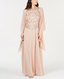 J Kara Embellished Gown & Shawl