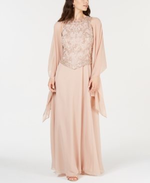 Embellished Gown & Shawl