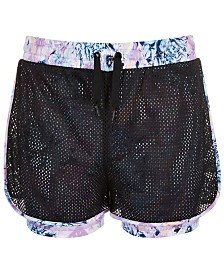 Ideology Big Girls Printed Layered-Look Mesh Shorts, Created for Macy's