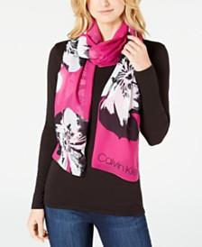 Calvin Klein Pop Flower Chiffon Scarf