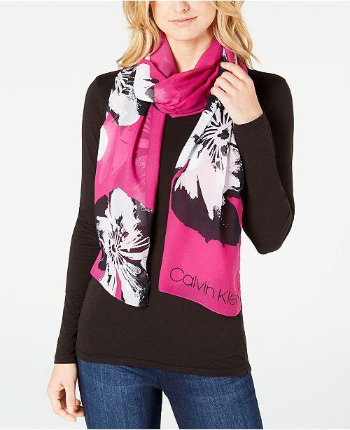 c6f3be5b05 Calvin Klein Pop Flower Chiffon Scarf - Handbags   Accessories - Macy s