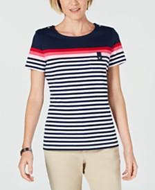 Karen Scott Petite Aster-Stripe T-Shirt, Created for Macy's