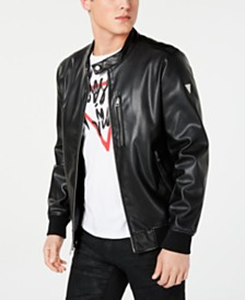 432181aeb4 GUESS Men s Faux-Leather Bomber Jacket