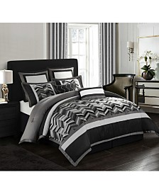 Alex 8-Piece Comforter Set, Black/Gray, Queen