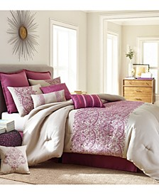 Martine 10-Piece Comforter Set, Purple, King