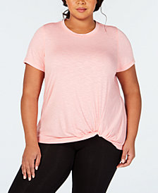 Ideology Plus Size Knot-Front T-Shirt, Created for Macy's
