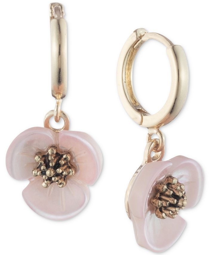 lonna & lilly - Gold-Tone Imitation Mother-of-Pearl Flower Drop Off Hoop Earrings