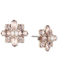 Marchesa Crystal & Imitation Pearl Cluster Button Earrings