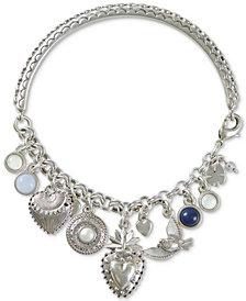 Lucky Brand Silver-Tone Stone, Hearts & Birds Charm Bracelet