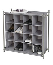 Harmony Twill Freestanding Stackable 16-Cubby Shoe Organizer