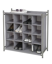 Neatfreak Harmony Twill Freestanding Stackable 16-Cubby Shoe Organizer