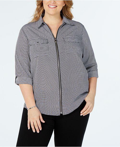 Michael Kors Plus Size Printed Utility Shirt
