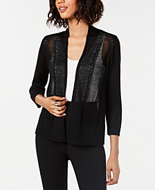 Petite Mixed-Stitch Open-Front Cardigan, Created for Macy's