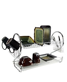 "MegaChef 16"" Two Shelf Dish Rack with Easily Removable Draining Tray, 6 Cup Hangers and Removable Utensil Holder"