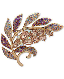 Anne Klein Gold-Tone Stone & Crystal Leaf Pin, Created for Macy's